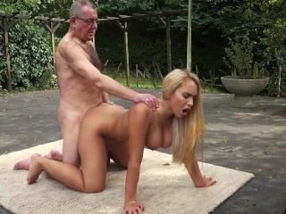 Incredible beauty young girl chubby tits fucked unconnected with old man in old young