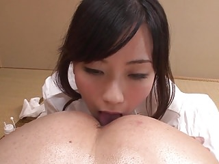 Uncensored JAV wife Manami Komukai CFNM rimjob rub-down in HD