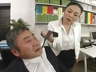Asians Office Ladt Rough Strapon (censored)