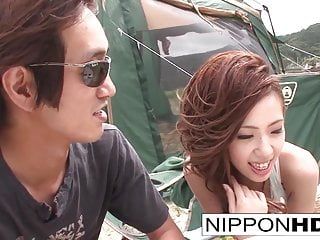 Japanese girlfriend blows her guy doused