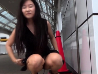 Asian pisses for voyeur in all directions public