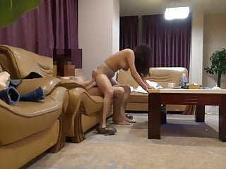 Vest-pocket Chinese girl banged all in all positions on the sofa